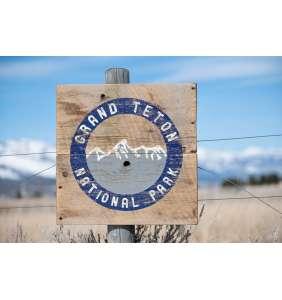 Wyoming Art, Grand Teton National Park, Jackson Hole, Barnwood Sign, Salvaged Wood Art, Rustic Art, National Parks, Barnwood Art