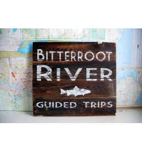 Fly Fishing Art, Bitterroot River, Montana Art, Trout Fishing, Barnwood Sign, Barnwood Art, Salvaged Wood Art, Rustic Art, Salvage Signs