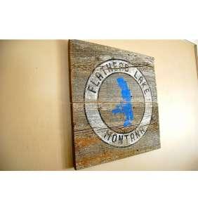 Montana Art, Flathead Lake Art, Montana Fishing, Flathead Valley, Barnwood Sign, Salvaged Wood Art, Rustic Art, Salvage Signs